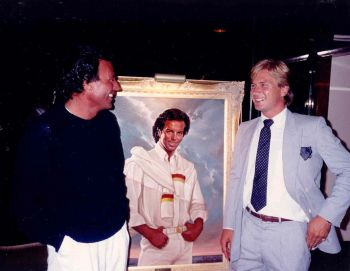 Mark presents Ralph Cowan Portrait to Julio Iglesias in Miami, Florida