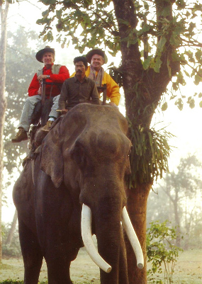 Mark &  R.W. tiger trekking via elephant back - Treetops Jungle Lodge, Nepal